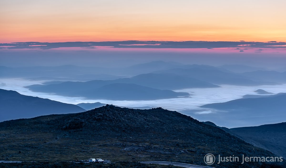 Morning Fog and Sunrise from Mount Washington, NH